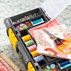 Create a clutter-free work space by storing your scissors, rulers, thread, and other notions with one of these stylish organization ideas.
