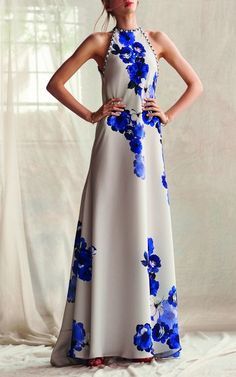 Floral Halter Neck Crepe Dress by Costarellos Resort 2019