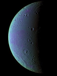 Image brought to you courtesy of www.robotradio.com | Cosmic Streams of Consciousness | Images to listen to.. | Like most of Saturn's moons, Dione is a barren, icy world. Amazingly, however, oxygen has been detected in it's slight atmosphere.