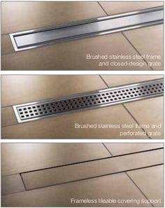 Great Schluter KERDI LINE Linear Shower Floor Drain with Center Outlet and Frameless Tileable Grate Design