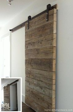 Salvaged Plank Custom Barn Doors - rustic - living room - new york - Real Sliding Hardware