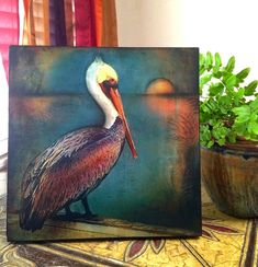"Pelican Art Mounted Archival Print of Original Mixed Media Art; Hand-Painted Details and Finish--""Pelican Sunset""--Pam Kapchinske Paintings I Love, Animal Paintings, Paintings Of Birds, Pelican Art, Painted Pony, Hand Painted, Flamingo Art, Coastal Wall Art, Bird Drawings"