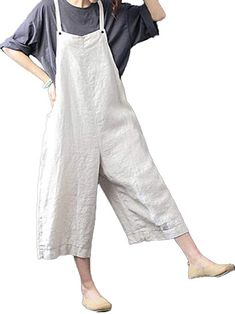 233d3bad168 Celmia Womens Casual Loose Bib Baggy Overalls Jumpsuit Pants Plus Size  Cotton Linen Romper Beige M