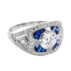 1920s Calibre Sapphire Diamond Platinum  Ring