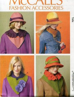 FREE US SHIP McCall's 6852 Fashion Accessories Brim Lined Hats Detachable Collar Scarves 2013 Old Store Stock Sewing Pattern by LanetzLivingPatterns on Etsy