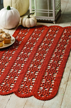 Scalloped Fall Runner in Aunt Lydia's Classic 10 from the October 2014 issue of Crochet World
