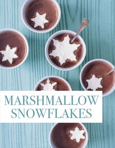 Marshmallow Snowflakes | Martha Stewart Living - Float these snowflake-shaped marshmallows in cups of hot chocolate. Get the Marshmallow Snowflakes How-To.