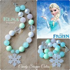 Elsa Frozen Chunky Necklace, Girls Chunky Necklace, Mint, Blue, Glitter, white…