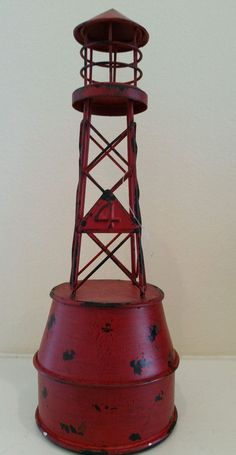 Red Metal Nautical  Bouy Man Cave Maritime  Office Garage Women  #Unbranded