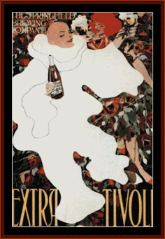 VP-80 - Extra Tivoli, 1896 - All cross stitch patterns - NEW - Food and Drink - Posters - Vintage Posters - Cross Stitch Collectibles
