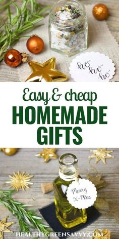 These *super-easy* homemade gifts take little time or skill but will impress nonetheless! Check out more than 25 ways to give handmade gifts this year -- even if you're not at all crafty! #frugalgifts #homemadegifts #greenholidays #homemadepresents #holiday #giftideas Homemade Body Care, Easy Homemade Gifts, Green Gifts, Eating Organic, Homemaking, Real Food Recipes, Super Easy, Best Gifts, Handmade Gifts