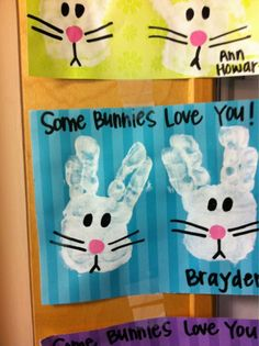 Make bunny cards or do your child's handprint and frame for Easter decor! :) gifts from kids to grandparents Easter Art, Hoppy Easter, Easter Crafts, Easter Bunny, Easter Decor, Easter Projects, Easter Ideas, Easter Activities, Craft Activities