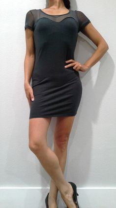 DRESSES. 95% Rayon Bodycon with Mesh Upper! Charcoal Grey. - $5 Fashions
