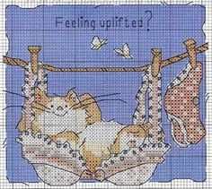 Cross-stitch Cat... no color chart available, just use the colors on pattern chart as your guide.    http://www.hcrafts.com/cross_stitch_cats.html