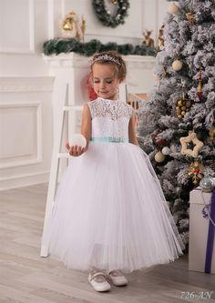 Ankle Length White Flower Girl Dresses,Ball Gown Flower