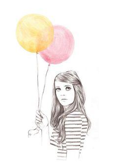 Niña y globos