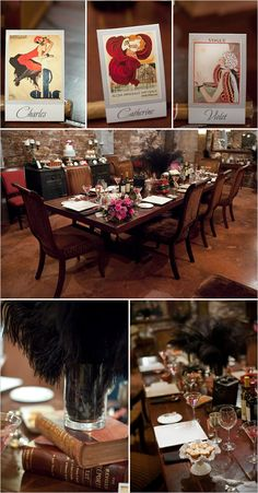 """roaring twenties decor - I like the place cards. If not having a """"sit-down meal"""", maybe send those cards as invitation and they must bring it with to gain entrance?"""