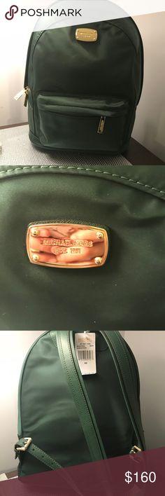 🆕 Michael Kors Large Jetset Backpack Michael Kors Jet Set Large Nylon Backpack with Leather Straps in Green  Top Rated Seller 🏆 Fast Shipper 💌 Michael Kors Bags Backpacks