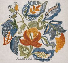 Crewel Embroidery Kit  JACOBEAN LEAVES by AnnaScottEmbroidery, $68.00