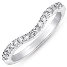 10k White Gold 1/3ct Curved Pave Diamond Wedding Band (G-H, I1-I2)