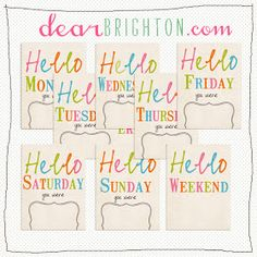 free from dear brighton : { project life printables - hello weekday and weekend cards }