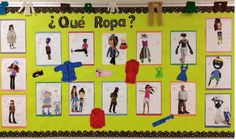 Clothing. Students cut out clothing items from magazines and create a person. Label the clothing & the color it has in Spanish.