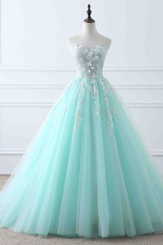 quinceanera dresses Light blue tulle applique sweetheart lace up ball gown dresses from Girlsprom - Tulle Ball Gown, Tulle Prom Dress, Ball Gown Dresses, Evening Dresses, Tulle Lace, Dress Lace, Pageant Dresses, Spring Ball Dresses, Dresses For Balls