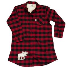 "When it's time to hit the slumber sack, channel your inner lumberjack! Our new Women's Flannel Nightshirts are a feminine twist on the traditional warm and rugged flannel shirt. Made from soft brushed flannel, these long-sleeved, button-down nightshirts sport a classic checkered pattern, complete with a woodsy applique moose on the bottom right. When you're snuggled into a flannel nightshirt, ""sawing logs"" has never been more soft and sexy! made from cozy 100% cotton."