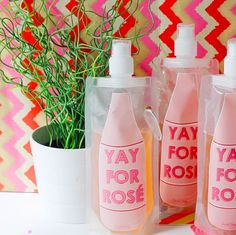Like an adult juice box really these Yay For Rosé Drink Pouches are the perfect Friday addition Vegas Bachelorette, Bachelorette Party Decorations, Bachelorette Party Favors, Wedding Favors, Bachlorette Cakes, Rose Drink, Bridal Shower Party, Party Packs, Party Gifts