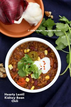 Lentil Kidney Bean Chili. Vegan Glutenfree Recipe | Vegan Richa