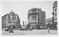 Vintage Street View of Soliman Pasha Square (Currently, Talaat Harb). Monument Designed by French Sculptor Henri-Alfred Jacquemart, Cairo, Egypt, Old Egypt, Cairo Egypt, Ancient Egypt, Vintage Pictures, Old Pictures, Tahrir Square, Cricut Wedding, Golden Days, The Old Days