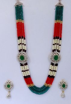 Multi Color Crystal Pearl Indian Gold Plated AD Green CZ  Rani Haar Necklace Set #AmbaniFashion