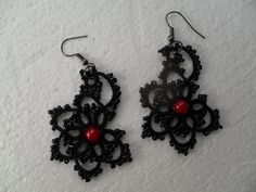 Tatted earrings with glass beads lace earrings by carmentatting, $15.00