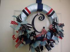 Baby Boy Ribbon Wreath in Nautical Theme for Hospital Door Hanger, ba…