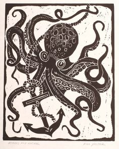 Octopus and Anchor - Block Print via Etsy