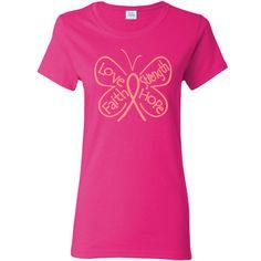 Uterine Cancer Butterfly Women's T-Shirt  #UterineCancer #ButterflyRibbonShirts #UterineCancerAwareness
