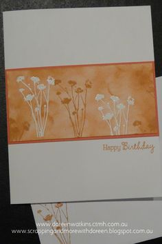inspired by cards seen on Pinterest Created using CTMH Sorbet Ink & Cardstock, Versamark Ink & White Embossing Powder. www.scrappingandmorewithdoreen.blogspot.com.au  www.doreenwatkins.ctmh.com.au