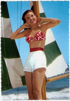 #vintage #beach #summer #boat #nautical #1950s #shorts
