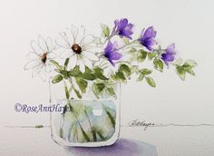 Watercolor painting of white daisies and purple wildflowers by RoseAnn Hayes, available in Etsy shop.
