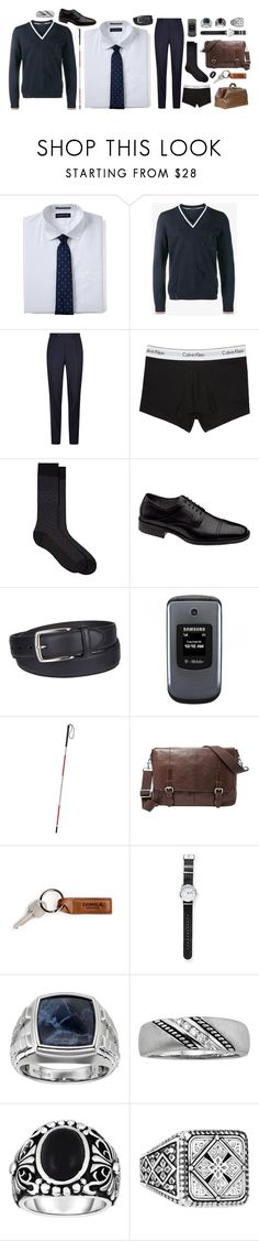 """""""[VISUAL] { look, I'm sorry }"""" by morningstar1399 ❤ liked on Polyvore featuring Lands' End, Lanvin, Canali, Calvin Klein Underwear, Barneys New York, Johnston & Murphy, Columbia, Samsung, FOSSIL and Mark & Graham"""