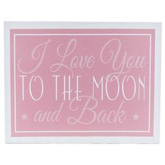 Pink Love You to the Moon Canvas Wall Art