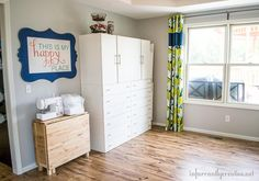 DIY Home Ideas | Craft Room Makeover ~ In part 3 of my craft studio makeover, I am talking about fabric storage and my sewing table, which conveniently folds up and rolls up against the wall when not in use.