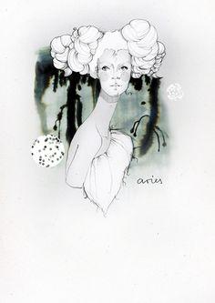 Ekaterina Koroleva's Zodiac Signs Set Illustrations: aries