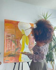 Black Girl Art, Black Women Art, Art Girl, Small Canvas Art, Mini Canvas Art, Artist Aesthetic, Nature Aesthetic, Abstract Line Art, Painting Of Girl