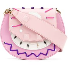 Salar studded stitch detail mini bag ($574) ❤ liked on Polyvore featuring bags, handbags, shoulder bags, miniature handbags, studded shoulder bag, studded purse, pink studded purse and pink shoulder bag