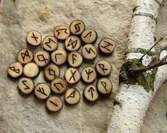 Oak Rune Set,  Elder Futhark rune set, hand made rune set, witches rune set, tool for wiccans and pagan rituals by WitchTools on Etsy