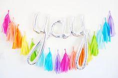 YAY balloon rainbow garland set - silver birthday decor - balloon banner kit