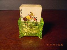 Canary Yellow Vaseline Glass Grape pattern Card Holder