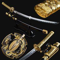 New Gold Leather Ito Japanese Samurai Katana Sword High Carbon Steel Full Tang Fantasy Sword, Fantasy Weapons, Swords And Daggers, Knives And Swords, Dao Sword, Sabre Laser, Pirate Sword, Ninja Sword, Arma 3
