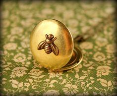 Brass Bee Locket Necklace by saffronandsaege on Etsy